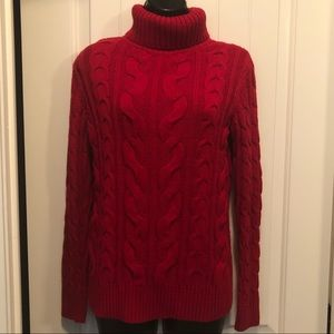 Deep Red Cable Knit Turtleneck Sweater  Size Small